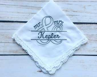 Mr. and & Mrs. Lace Handkerchief Personalized - Lace Hankie - Custom Handkerchief - Embroidered Handkerchief - Bridal Handkerchief