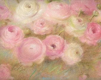Pink Florals Original Pastel