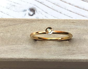 Sky Blue Topaz ring, Blue Topaz gemstone stacking ring, Gold fill ring, Topaz gold ring, Gift for her, Mothers Day gift, Handmade in the UK