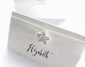 Calligraphy Place Cards - Jewel Name Place Cards - Rhinestone Place Cards