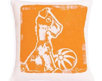 Decorative Pillow, Orange, Dog, Silk screened on cotton bark cloth, 10 inch