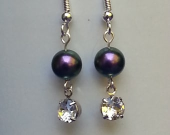 Purple Swarovski Iridescent Pearl & Swarovski Crystal Setting Earrings
