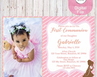 First Communion Invitation-1st Communion Invitation-1st Communion-Her 1st Communion