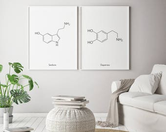 Dopamine Serotonin Science, Dopamine Serotonin Molecules, Serotonin Dopamine Chemistry, Dopamine And Serotonin, Set Of 2 Prints