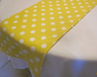 Yellow Polka Dot Table Runner, Wedding, Bridal Shower, Baby Shower,  Birthday Party, Lemonade Party, Easter