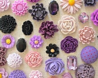 Purple and Black Cork Board Thumbtack, Mix Floral Pushpins Set, Cute Push Pin, Beautiful Thumbtack, Bulletin Board Pins, Extra Long Tacks