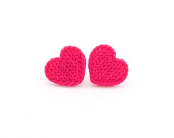 Hot pink faux knitted heart earrings - knitting earrings - fuchsia knit earrings - heart stud earrings - valentines gift - gift idea