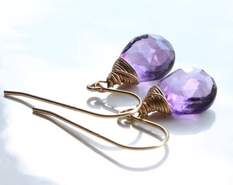 Amethyst Earrings, Gold filled, wire wrap, fine gold earrings with purple gemstone, minimalist earrings, gift, February birthstone, 2015