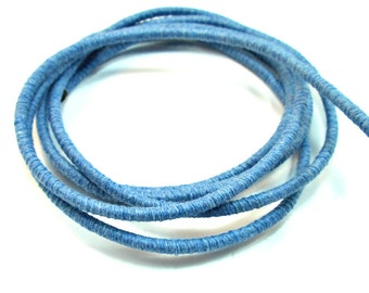 Cotton rope cord, cotton fiber cord, cotton rope for crafts, colored cotton rope, 3.5mm cord, wrapped cotton rope, light blue cord, 1m