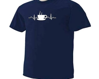 COFFEE CUP HEARTBEAT Pulse Beating Funny Humor Coffee Drinking Drinkers T-Shirt