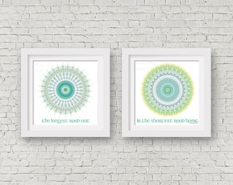 Irish proverb wall art set of 2 prints 6x6 typography poster set living room decor teal wall art aqua white mandala art yellow kitchen decor