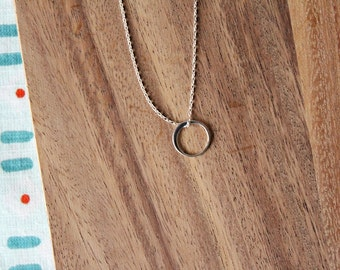 sterling silver tiny circle necklace - minimal - 18 inches