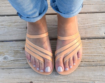 Greek Sandals, Slip on Sandals, Summer Flats, Leather Sandals, Roman Sandals, Women's Sandals, Leather flats, Natural Leather, Handmade