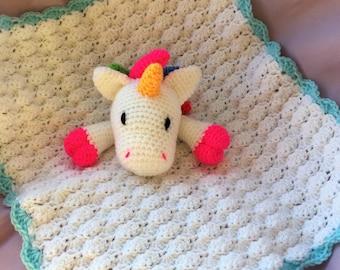 Unicorn baby comfort blanket / new baby gift / cuddly toy / baby shower