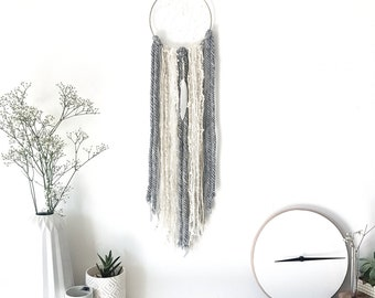 "Small Boho grey/beige/white feather Dreamcatcher 6"", Wall decor, Bohemian, wall art, woodland nursery, dream catcher, feather wall hanging"