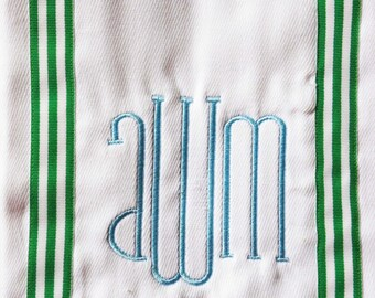 Baby Burp Cloth with Green Striped Ribbon / Monogram Baby Gift / Personalized Baby Gift
