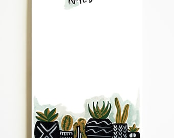 To Do List Pad, Cactus Notepad, Desk Organization, Notepad, List pad