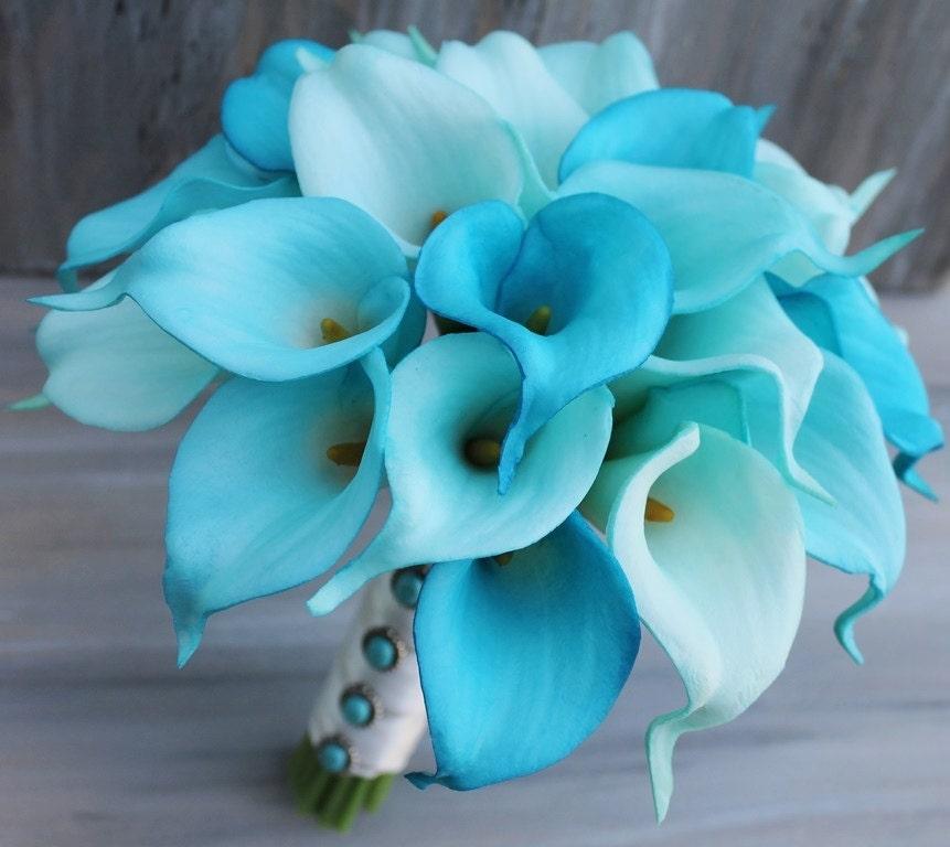 Bouquet Turquoise Calla Lilly Bouquet Bridal Bouquet