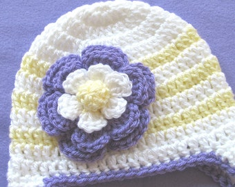 Crochet White Yellow Purple Earflap Hat Baby Girl - Winter Baby Girl Hat - Flower Trimmed Baby Hat - Size 3 to 6 Months