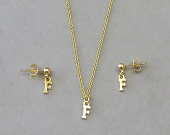Tiny Initial F Necklace and Earring Set - Gold or Silver Plated