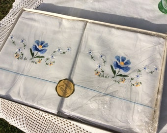 Vintage embroidered pillowcases, blue floral pillowcases by Dorcas still in original box,
