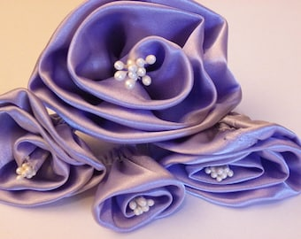 10 beautiful flowers in purple satin with pearls