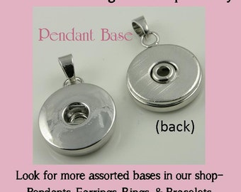 2  Pendant Bases for use with DIY SNAP Bezel Tops. Works with Snap Jewelry - Optional Silver 2.4mm Ball Chain or Vintage Chain