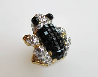 Rhinestone Frog Brooch, Clear Pave Set Rhinestones, Black Invisible Set Square Cut Crystals, Vintage 80s Pin, Signed Replica Made in Italy