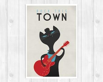 20% OFF!! Stray Cats Print - Rock this town - Music poster Music print Lyrics Print