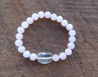 Rose Quartz Bracelet, Crystal Healing, Clear Quartz, Chakra Bracelet, Healing Meditation Bracelet, Yoga Bracelet, Wrist Mala
