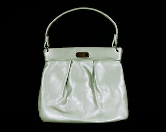 7 DOLLAR SALE---Vintage 60's Metallic Light Green Vinyl Handbag Purse