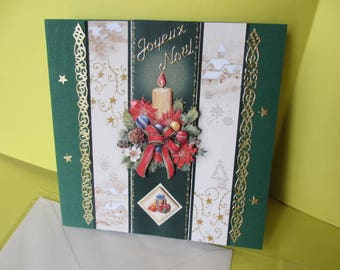 Map stickers and 3D (relief) decorated candle gold Merry Christmas