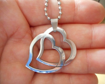 Necklace with pendant, 2 hearts, love, silver ball necklace, 60 cm necklace, for my sweetheart