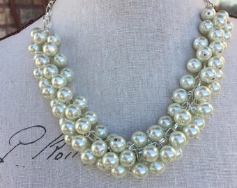 Cluster Pearl necklace, bridesmaid jewelry, please read definition, wedding jewelry, chunky pearl necklace
