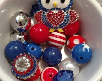 Red white and blue patriotic owl chunky necklace kit gumball necklace kit bubblegum necklace kit