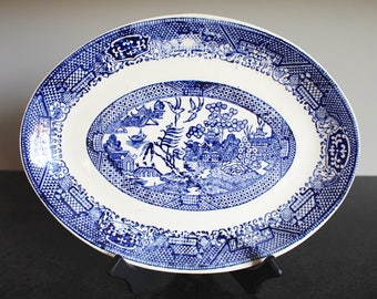 Blue Willow Oval Serving Platter, USA