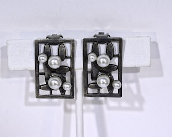 Rectangular Blackened Silver Clip on Earrings with Pearls