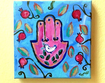 Jewish Wall Art, Shalom Artwork, Hamsa, Peace Dove, Pomegranates, Original Acrylic Painting, Peace Dove with Olive Branch, Judaica Gifts