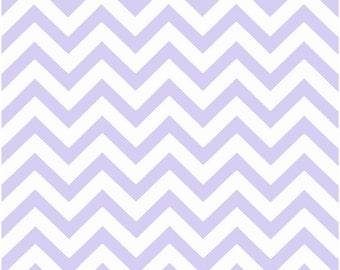 1 Yard Light Purple and White Chevron Fabric - Premier Prints Wisteria and White Zig Zag Chevron Fabric lavender ONE YARD