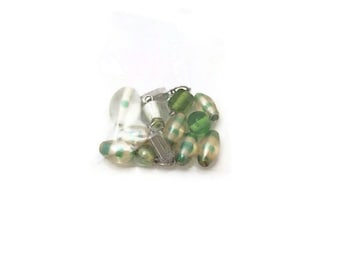 Green mint foiled lampwork beads destash