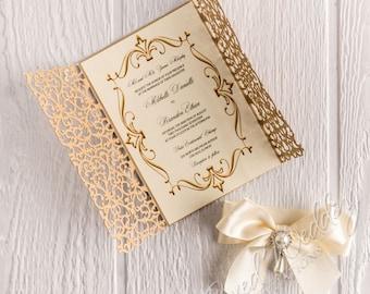 Gold laser cut invitation cardquinceanera invitation wedding gold laser cut invitation cardquinceanera invitation wedding invitationanniversary invitationbirthday invitationbat mitzvah invitation stopboris Gallery