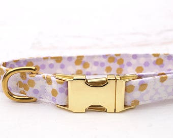 "11-16"" Ready to Ship Purple Dog Collar - Cute Dog Collar - Gold Dog Collar - Female Dog Collar - Girl Dog Collar - Fabric Dog Collar"