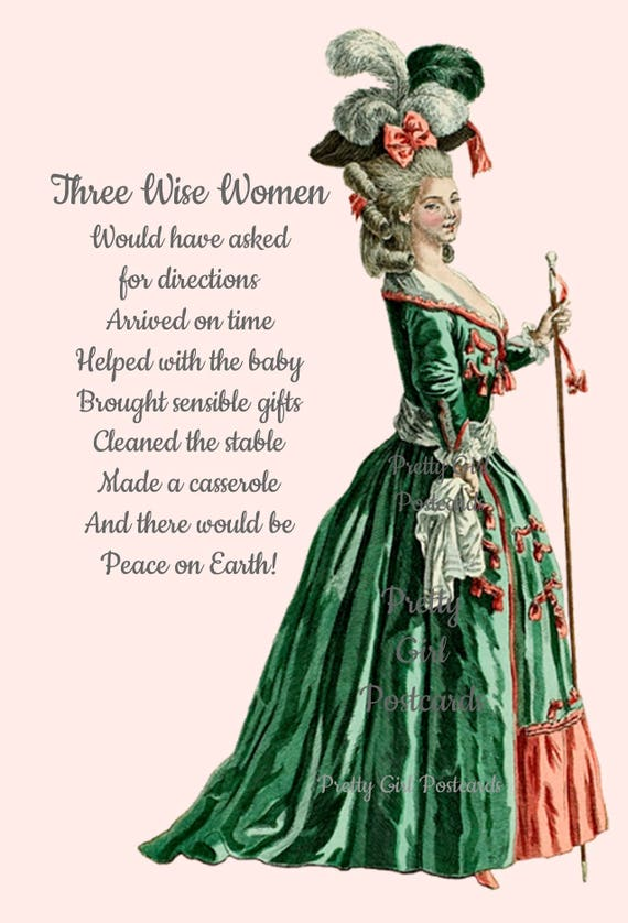 Christmas Card ~ Three Wise Women ~ Peace on Earth ~ Marie Antoinette Funny Postcard ~ Happy Holidays ~ Greeting Card ~ Funny Postcard