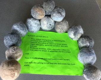 3 Alpaca dryer balls **Dog Toys **Dog balls**Pet Balls** Cat Toys **Cat Balls** no Chemicals **All Natural** 100% Alpaca Felted Balls