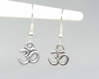 Om Earrings - om earrings - dangle earrings - yoga earrings - om symbol - om jewelry - silver om earrings - ohm earrings spiritual earrings
