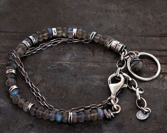 raw sterling silver bracelet with labradorite oxidized silver • gift for her chain bracelet