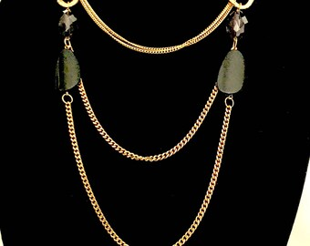 Vintage Three Chain Bead Necklace    GJ2932