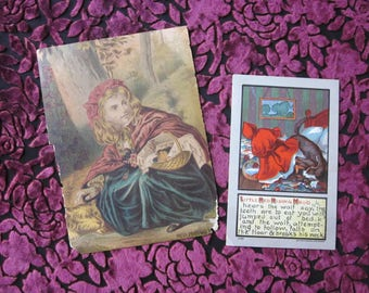 Two Antique Little Red Riding Hood ephermera