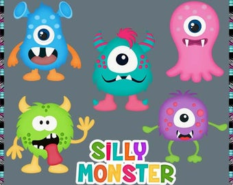 More Silly Monsters - Instant Download - Commercial Use Digital Clipart Elements Set