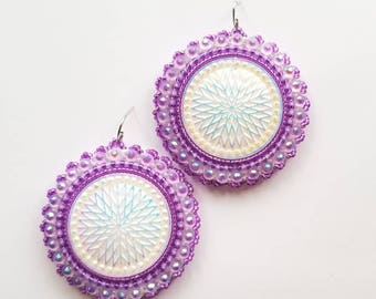 Purple Star Quilt Beaded Earrings